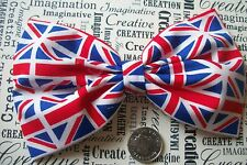 "HANDMADE 5"" UK BRITAIN UNION JACK FLAG PRINT FABRIC BOW HAIR CLIP PATRIOTIC"