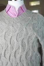 Lord & Taylor Mens 100% Cashmere Sweater Heavy Gray Hand Knit Large