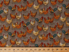 Farm to Table Chickens Roosters Hens Birds Cotton Fabric Print by Yard D759.18