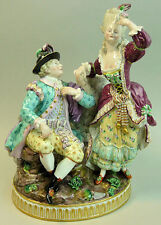 FINEST QUALITY ANTIQUE MEISSEN PORCELAIN COURTING COUPLE FIGURE GROUP F98