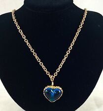 CHANEL 2 CC 8 GRIPOIX BLUE GLASS HEART GOLD TONE PENDANT CHAIN NECKLACE