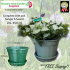 140mm Hanging Basket / Plant pot, hanger, saucer