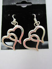 925 STERLING SILVER DOUBLE HEART EARRINGS