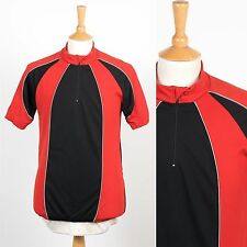 MENS VINTAGE RETRO 80'S BLACK & RED PANEL CYCLING SHIRT RACE JERSEY ROAD BIKE L