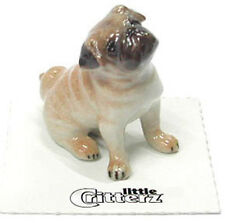 ➸ LITTLE CRITTERZ Dog Miniature Figurine Pug Button