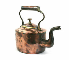 Antique 19th C. Copper & Brass Kettle 1/4 Gallon Swan Neck Tin Lined