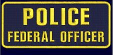 POLICE FEDERAL OFFICER 4X10 hook navy background with gold letters