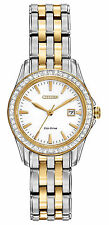 Citizen Eco Drive EW1908-59A Silhouette Crystal Date Two Tone Ladies New Watch