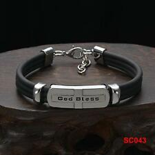 "Hot Men's HQ Stainless Steel & Rubber Cross Cuff Chain Bracelet Sizable 8""-9"""