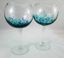 2 Mexican Glass LARGE Wine Glasses Pair Hand Blown Cobalt Blue & Teal Confetti