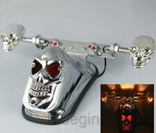 Skull Motorcycle LED Tail Lights Brake Stop Turn Signal Lamps Blinker Indicators