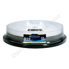 10 Optical Quantum 6x 50GB Blu-ray Double Layer BD-R DL Logo Top Disc Cake Box
