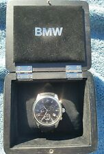 BMW Genuine Men's Chronograph Watch with Black Leather Strap, Waterproof 330