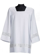 SURPLICE COTTA Latin Cross and IHS Lace Catholic Square Neck Cotton Blend