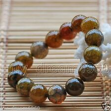 Genuine 8mm Round Yellow Dragon Veins Agate Gemstone Stretch Bracelet Bangle