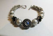 "Sterling Silver Bali Bead Real Pearls Moonstone Toggle Clasp 7"" Bracelet 32 Gram"