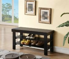 Wood Storage Shoe Bench Shelf Entry Hall Way Home Porch Seat Organizer Indoor