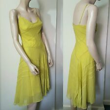 BCBG Max Azria Chartreuse Gold Yellow Silk Beaded 20s Slip Dress Gatsby Size 4 8