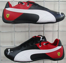 Men's Puma Ferrari Future Cat Snekers, New Black White Red Walking Shoes Sz 6