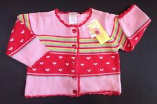 NWT Gymboree Tiny Hearts 12-18 Months Pink Striped Crochet Trim Cardigan Sweater