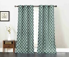 Set of Two Window Curtain Panels: Teal with White Moroccan Trellis Design