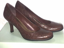 """GIANNI BINI Womens Shoes Sz 7 Pump 3"""" Heel Rust Brown Patterned Leather New Box"""