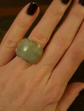14k gold green jade ring