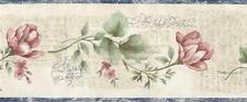 Wallpaper Border Watercolor Floral one Faux Script Writing Blue Red Green Cream