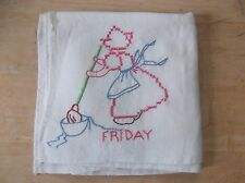 """Vintage """"Friday"""" Cross Stitched Large Kitchen Hand Towel"""