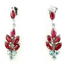 Elegant Natural 6x3mm Top Rich Red Pink Ruby Zircon 925 Sterling Silver Earrings