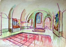 Acquerello '900 su carta Watercolor Architettura futurista cubista razionale-123