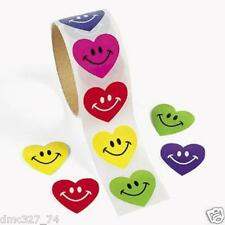 1 Roll VALENTINE'S DAY Birthday Everyday Party Favors HEART SMILE FACE STICKERS