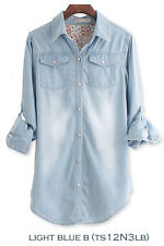 ts12N3L Celebrity Style Womens Vintage Boyfriend Chambray Long Denim Shirt Dress