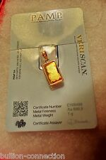 NEW 24 KT GOLD 1 GRAM PAMP SUISSE FORTUNA VERISCAN BAR 14 KT SOLID GOLD PENDANT