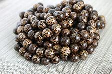 15mm Natural Patikan - Old Palmwood - Round Premium Wood Beads - 15 inch strand
