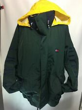 Vintage Tommy Hilfiger 90's Hideaway Hooded Green Yellow Logo Jacket - Men's XL