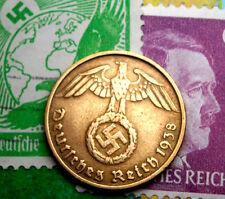 XX-RARE 1938-D WW2 NAZI German 5 Reichspfennig Coin/Swastika & Hitler Stamp LOT