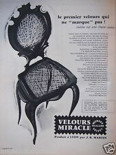 PUBLICITÉ 1956 VELOURS MIRACLE WONDER SILICONE VELVET- CHAISE - ADVERTISING