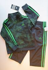NEW NWT ADIDAS 2Pc Gray & Green Track Suit Jacket & Pants Boys 3T