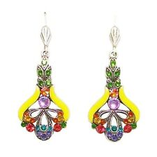 Anne Koplik Art Nouveau Multi-Color Crystals Bright Yellow Earrings Made in USA