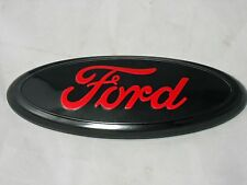 "FORD™ New 7"" x 2.75"" Black / Red Oval  BodyGrille Badge Logo F150 Free Ship"