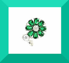 New Green Tourmaline & White CZ 925 Cluster Silver Ring Sz 8 FREE SHIPPING #232