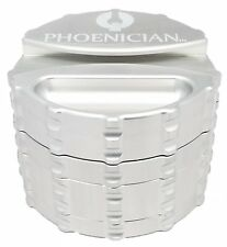 Phoenician Herbal Grinder - Large 4 Piece w/ Papers Holder - Silver