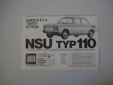 advertising Pubblicità 1965 NSU TYP 110