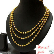 One Gram Gold Plated 3 line Balls chain / Long Necklace/Mohan Maala