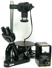 Leitz Wetzlar Inverted Microscope with 3x Objectives and Transformer Model 20-K