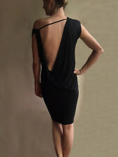 Blessed Are The Meek Black Liquid  Knee Length Drape backless Dress 6, 8, 10, 12