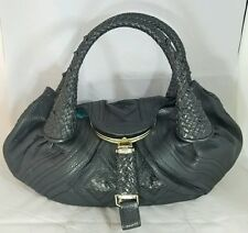 Fendi Italy Spy Bag Black Woven Nappa Leather Handbag Purse