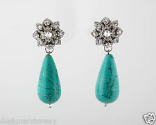 Glynneth B Swarovski Crystals with Turquoise Brass teadrop earrings