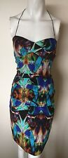 NICOLE MILLER Designer Dress Size 4 Small S 2 8 Formal Bodycon Blue Green !